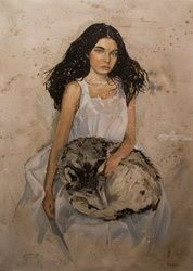 """Cyrene"", Paintings, Realism, Animals,People,Portrait, Oil, By Oleksii Gnievyshev"