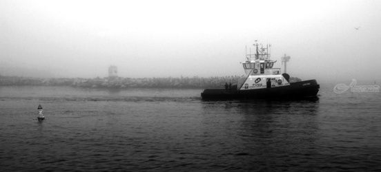 """Early Morning Tug Work""<br>Limited Edition, Photography, Fine Art, Landscape, Acrylic,Photography: Premium Print, By Chris Kay"