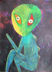 Evil child, naive art with a<br>fantastic story, Illustration,Paintings, Fine Art,Satire, Art Brut,Avant-Garde,Fantasy,Handwriting,Humor, Acrylic,Mixed, By Kost Koža outsider art and stories