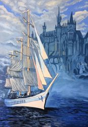 H. P. Lovecraft* The White<br>Ship*(acrylic on canvas), Illustration, Fine Art, Fantasy, Acrylic, By Victoria Trok
