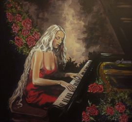 *La Pianiste*(acrylic on<br>cardboard), Paintings, Fine Art, Portrait, Acrylic, By Victoria Trok