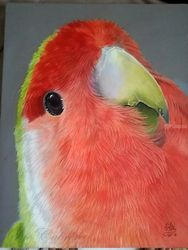 """LOVE-BIRD"", Paintings, Realism, Animals, Acrylic, By Maria Cabrero"