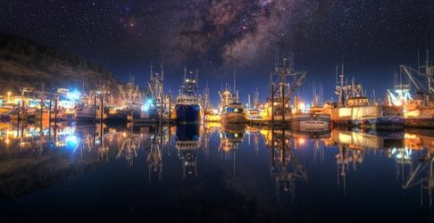 """Milky Way Over Saint Paul<br>Harbor"" Limited Edition, Photography, Fine Art, Landscape, Acrylic,Photography: Premium Print, By Chris Kay"
