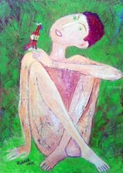 .RED BIRD, Paintings, Impressionism, Nudes, Canvas, By ZAKIR AHMEDOV