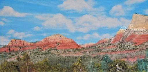""" Red Walls Of Sedona"", Paintings, Realism, Landscape, Canvas,Oil,Painting, By Micheal Eaken"