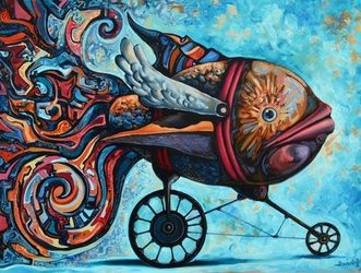 """Return of the conqueror"", Paintings, Abstract,Expressionism,Fine Art,Futurism,Modernism,Satire,Surrealism,Symbolism, Animals,Conceptual,Erotic,Fantasy,Figurative,Humor, Oil, By Darwin Leon"
