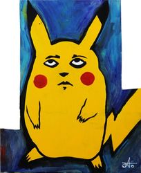 Sad Pickachu, Custom Woodwork, Street Art, Art Brut, Painting, By Alex Go