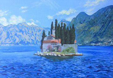 St. George island.Montenegro<br>(acrylic on canvas), Paintings, Realism, Landscape, Acrylic, By Victoria Trok