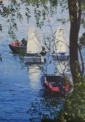 The Boats, Paintings, Realism, Landscape, Acrylic, By Victoria Trok