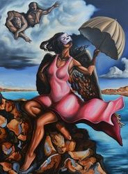 """The daughter of Men"", Paintings, Abstract,Expressionism,Fine Art,Modernism,Romanticism,Satire,Surrealism,Symbolism, Anatomy,Animals,Composition,Conceptual,Erotic,Fantasy,Figurative,Historical,Humor,Mythical,Narrative,Nature,Nudes,Religious,Seascape, Canvas,Oil,Painting, By Darwin Leon"