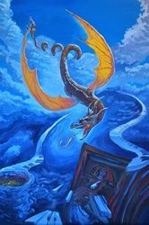 *The Dragon*(acrylic on<br>cardboard), Paintings, Fine Art, Fantasy, Acrylic, By Victoria Trok