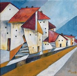 The edge of town, Paintings, Abstract,Impressionism,Modernism, Cityscape, Oil, By Aniko Hencz