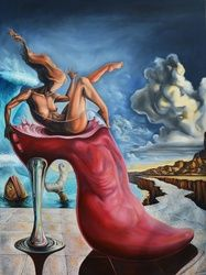 """The elixir of the Goddess"", Paintings, Abstract,Expressionism,Fine Art,Modernism,Surrealism,Symbolism, Anatomy,Animals,Composition,Conceptual,Erotic,Fantasy,Humor,Mythical,Narrative,Nudes,The Unconscious, Oil, By Darwin Leon"