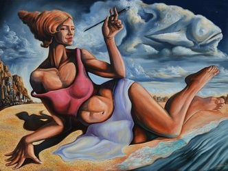 """The muse from the shore of<br>dreams"", Paintings, Abstract,Expressionism,Modernism,Romanticism,Satire,Surrealism,Symbolism, Anatomy,Animals,Composition,Conceptual,Erotic,Fantasy,Figurative,Humor,Mythical,Narrative,Nudes,Seascape, Canvas,Oil,Painting, By Darwin Leon"