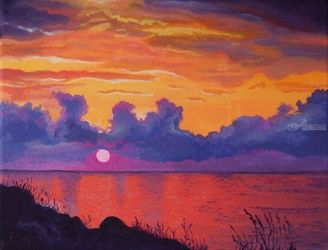 *The Sunrise*(acrylic on<br>canvas), Paintings, Fine Art, Landscape, Acrylic, By Victoria Trok