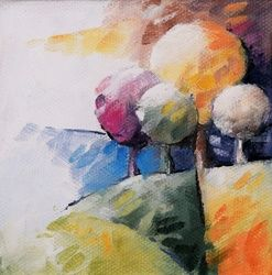 027 arbres, Paintings, Abstract, 3-D,Figurative,Floral,Landscape, Canvas,Oil, By Beatrice BEDEUR