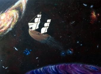 Spaceship, Paintings, Surrealism, Celestial / Space, Acrylic, By Ambereen Ahmed