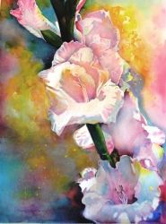 Gladiolas Morin', Paintings, Realism, Nature, Watercolor, By Barbara Clay