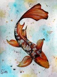Watercolor Koi, Paintings, Fine Art, Animals, Gouache, By Erin Carr