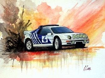 Ford RS200 Evolution<br>Watercolor, Paintings, Fine Art, Composition, Gouache, By Erin Carr