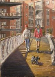 174. The Dog Walk, Paintings, Fine Art, Cityscape,Daily Life,Narrative,People, Oil, By TED HISCOCK