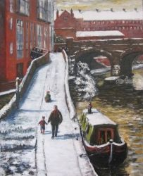 195. The only snowfall of<br>winter, Paintings, Fine Art, Cityscape,Daily Life,People, Oil, By TED HISCOCK