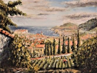 22. Collioure from the<br>vineyards, Paintings, Fine Art, Landscape, Oil, By TED HISCOCK