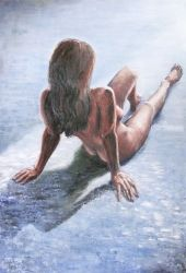 226. Auburn Hair, Paintings, Fine Art, Figurative,Nudes, Oil, By TED HISCOCK