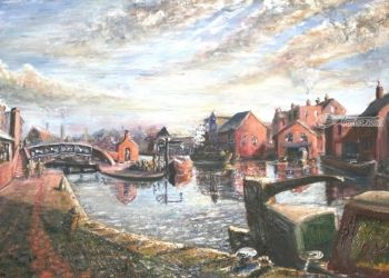 371. Reflections of Cresent<br>Wharf, Birmingham, Paintings, Fine Art, Cityscape,Historical, Oil, By TED HISCOCK