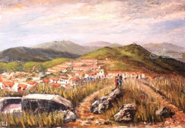 372. The 'tours Madeloc,<br>Massane & Fort St. Elme, Paintings, Fine Art, Landscape, Oil, By TED HISCOCK