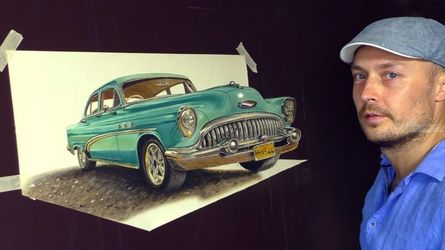 3D Art /Old Cuban Classic Car<br>painting, Architecture,Carvings,Drawings / Sketch,Paintings, Expressionism,Fine Art,Impressionism,Photorealism,Realism, 3-D,Architecture,Still Life, Oil,Painting, By Stefan Pabst