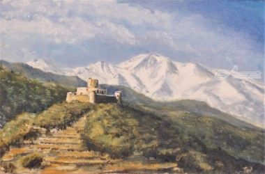 605. St Elme & Pic Canigou, Paintings, Fine Art, Landscape, Oil, By TED HISCOCK
