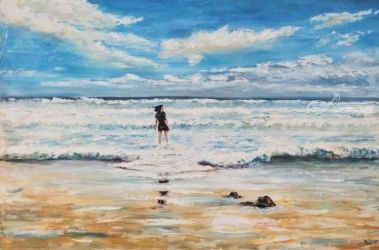 617. A beach in Paradise, Paintings, Fine Art, Landscape,Seascape, Oil, By TED HISCOCK