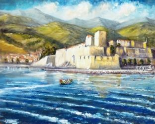 620. The Collioure Ladies'<br>Rowing Team, Paintings, Fine Art, Landscape,Seascape, Oil, By TED HISCOCK