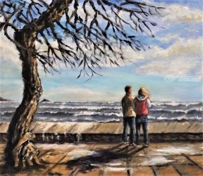671. Watching Waves, Paintings, Fine Art, Seascape, Oil, By TED HISCOCK