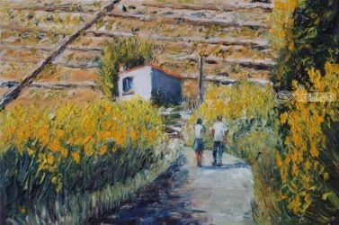 696. The wild broom of St.<br>Elme, Paintings, Fine Art, Landscape, Oil, By TED HISCOCK