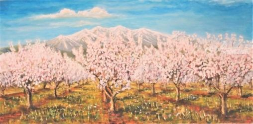 704. Peach Blossom in the<br>Spring, Paintings, Fine Art, Landscape, Oil, By TED HISCOCK