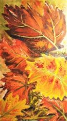 734. Feuilles rouges d'automne, Paintings, Fine Art, Botanical,Nature,Still Life, Oil, By TED HISCOCK