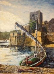 9. Chateau Royal & barque,<br>Collioure, Paintings, Fine Art, Seascape, Oil, By TED HISCOCK