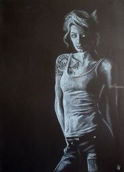 Amazon, Pastel, Fine Art,Photorealism,Realism, People,Portrait, Pastel, By Kateryna Bortsova