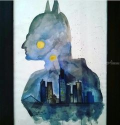 Batman Watercolor, Paintings,Poster, Fine Art, Cityscape,People, Watercolor, By Sukrriti Aggarwal