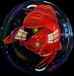 Betta Fish - 5, Paintings, Surrealism, Animals, Oil,Painting, By Julian Arsenie