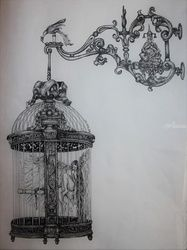 Bird in the Cage, Architecture,Decorative Arts,Drawings / Sketch,Folk Art,Graphic,Illustration,Poster,Tattoo, Commercial Design,Existentialism,Fine Art,Pop Art,Realism,Surrealism,Symbolism, Anatomy,Children,Composition,Conceptual,Decorative,Erotic,Fantasy,Figurative,Furniture,Grotesque,Inspirational,Spiritual,Still Life, Ink, By Misia Slemp