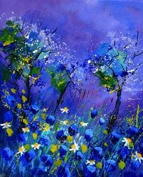 Blue flowers, Paintings, Expressionism, Botanical, Canvas, By Pol Ledent