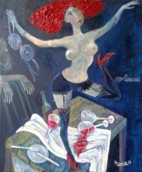 Cabaret, Paintings, Modernism, Nudes, Canvas, By ZAKIR AHMEDOV