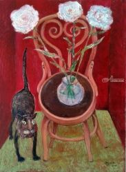 Cat And Flowers, Paintings, Impressionism, Animals, Canvas, By ZAKIR AHMEDOV