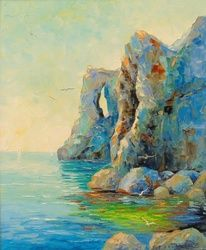 Cliffs by the sea, Paintings, Impressionism, Landscape,Nature,Seascape, Canvas,Oil,Painting, By Olha   Darchuk