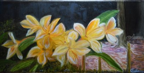 Floral Magic Yellow Amaryllis, Paintings, Fine Art,Impressionism,Realism, Floral,Landscape, Canvas,Oil, By Mike Chaple