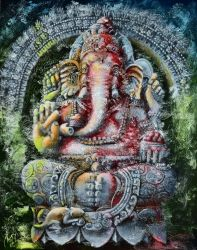 Ganesha. Ritual, Paintings, Abstract,Expressionism, Religious, Canvas, By Nikolay Velikiy