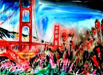 Golden Gate San Francisco, Paintings, Expressionism, Architecture,Landscape, Acrylic, By Victor Ovsyannikov